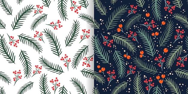 Modèles sans couture de noël sertis de branches de pin