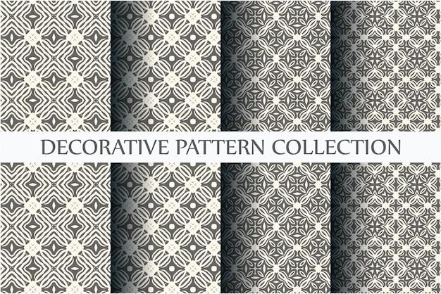 Modèles sans couture noir et blanc minimaux sertis de style arabesque