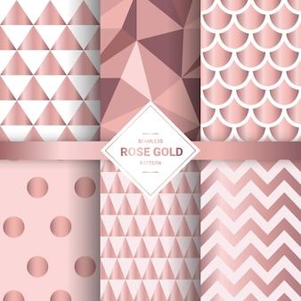 Modèles sans couture en or rose métallisé.