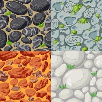 Modèles sans couture de pierres de dessin animé serti de plantes et de roches de différentes formes, couleurs et matériaux