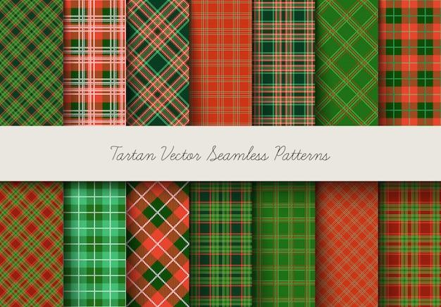 Modèles sans couture de tartan dans les couleurs verts et rouges