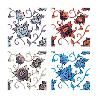 Modèles sans couture de vecteur avec des roses