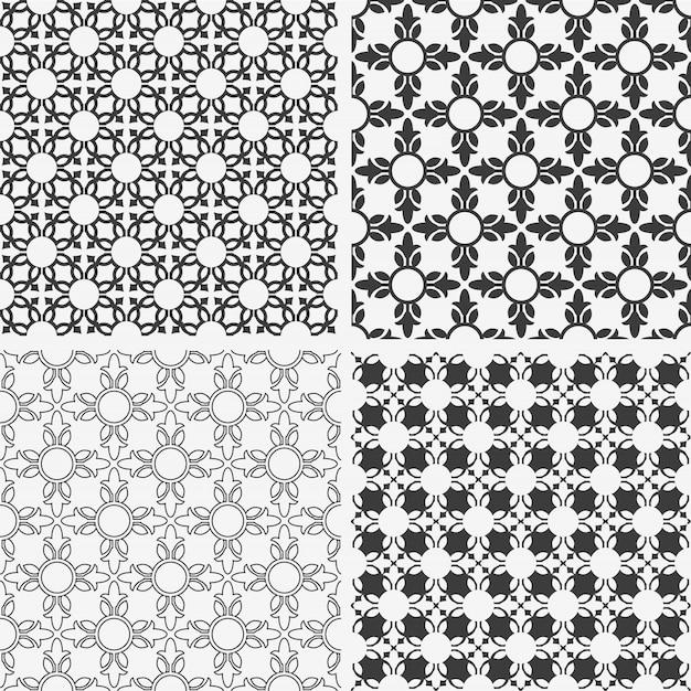 Modèles sans soudure floraux abstraits monochromes