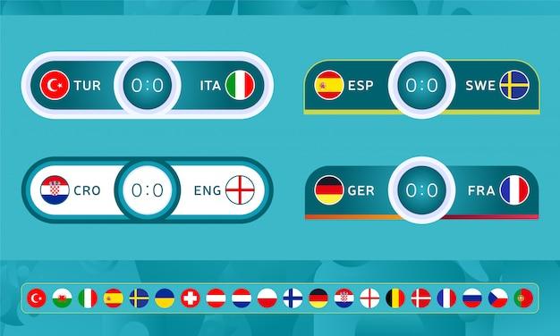 Modèles de tableaux de bord de football sport pour le championnat de football