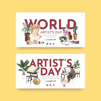 Modèles twitter avec la journée internationale des artistes dans un style aquarelle
