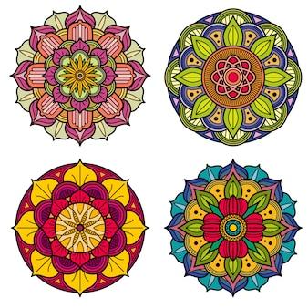 Modèles de vecteur floral indien et chinois de mandalas de couleur