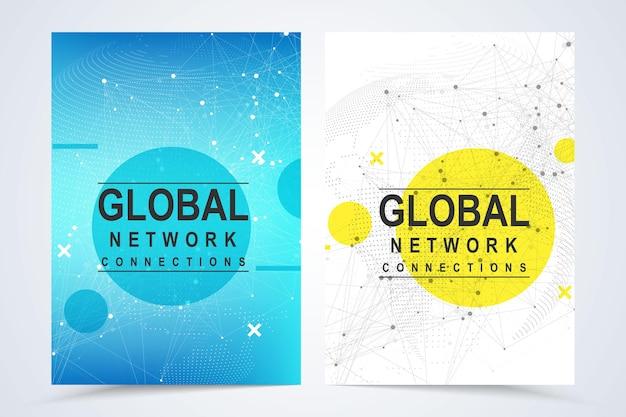 Modèles vectoriels commerciaux pour couverture a4, brochure, dépliant, brochure, magazine, rapport annuel. contexte de connexion réseau mondial. composition de points et de lignes de carte du monde. affaires mondiales. réseau social.