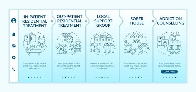 Modèles vectoriels d'intégration des types de réadaptation. site web mobile réactif avec des icônes. écrans de présentation de page web en 5 étapes. concept de couleur de traitement résidentiel pour patients externes avec illustrations linéaires