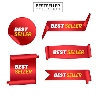 Modèles vectoriels de ruban rouge best-seller
