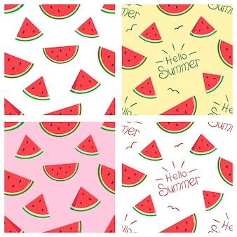 Modèles vectoriels avec des tranches de pastèque lumineuses et l'inscription bonjour fruits tropicaux d'été