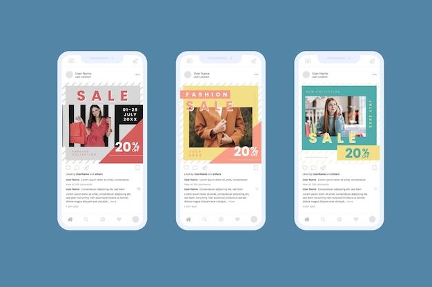 Modèles de vente colorée collection de médias sociaux