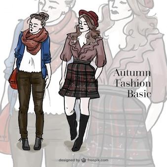 Les modèles avec des vêtements décontractés automnal dessiné à la main