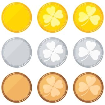 Modèles vierges ronds sertis de trèfle - or, argent, bronze isolé sur fond blanc. vector illustration de style dessin animé design plat.