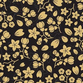 Modélisme de mode sans couture fleurs doré