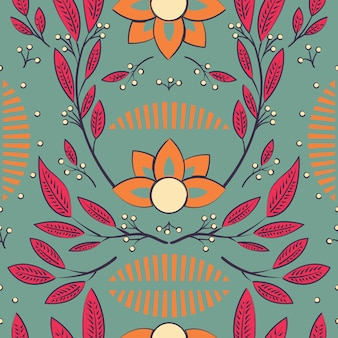 Modélisme sans couture avec fleurs dessinées à la main et éléments floraux