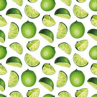 Modélisme sans couture avec des illustrations de chaux. citrons verts entiers avec tranches de citron vert.