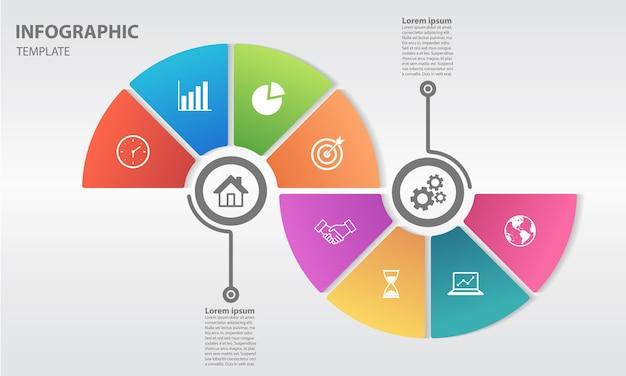 Moden chronologie infogaphic avec 8 options