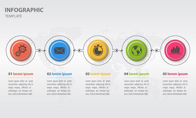 Moden timeline infographic avec cercle 5 options