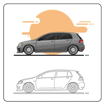 Modern grey car easy editable