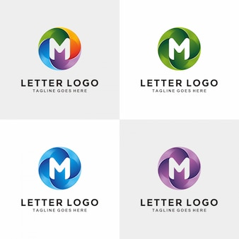 Moderne 3d cercle lettre m création de logo