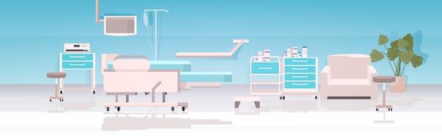 Moderne clinique mobilier intensif salle de thérapie vide aucun peuple hôpital salle intérieur horizontal