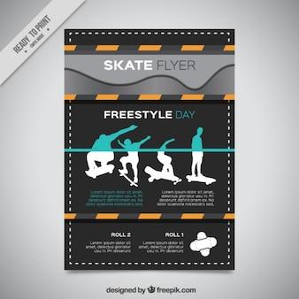 Moderne dépliant de skate avec des silhouettes de patineur