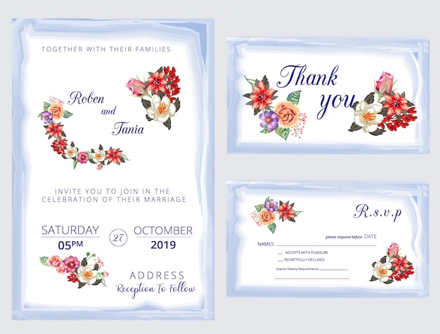 Moderne, invitation de mariage, invitation, merci, rsvp