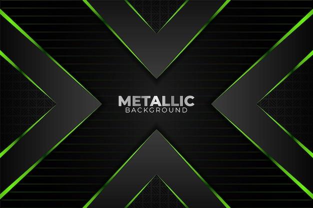 Moderne métallique abstrait géométrique vert brillant et fond gris foncé avec ligne
