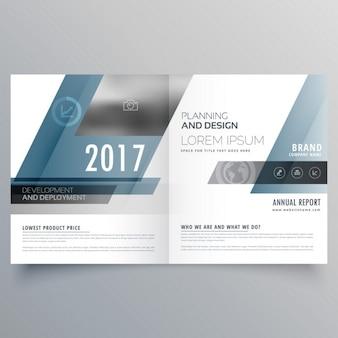 Moderne modèle de brochure bifold d'affaires avec des formes abstraites