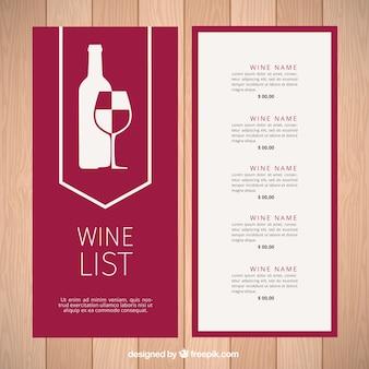 Moderne modèle de carte des vins