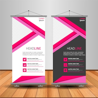 Moderne roll up banner avec forme abstraite