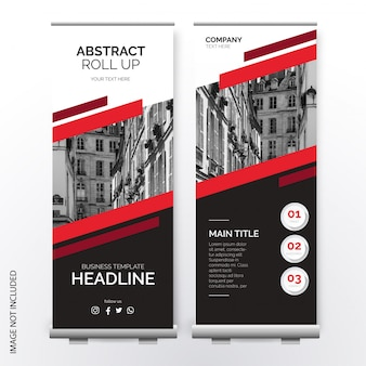 Moderne roll up template avec des formes abstraites