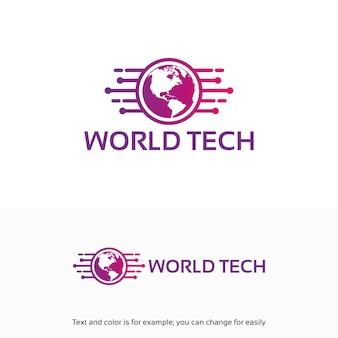 Moderne world tech logo conçoit le modèle avec le symbole de la carte
