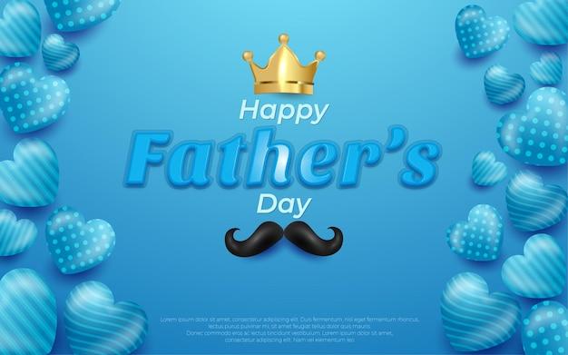 Modifiable couronne de fête des pères heureux et ballon bleu moustache en bleu.