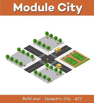 Module de bloc 3d isométrique du terrain de jeu du district
