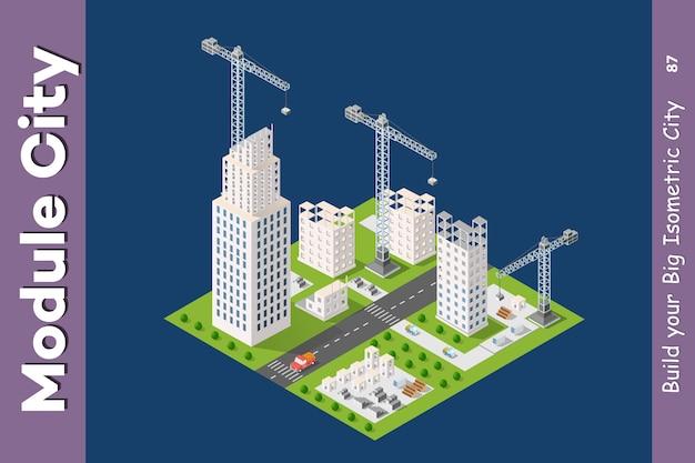 Module ville isométrique de maisons