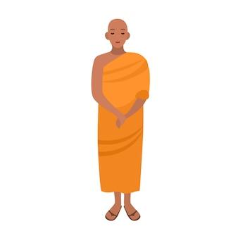 Moine bouddhiste tibétain vêtu de vêtements religieux traditionnels.