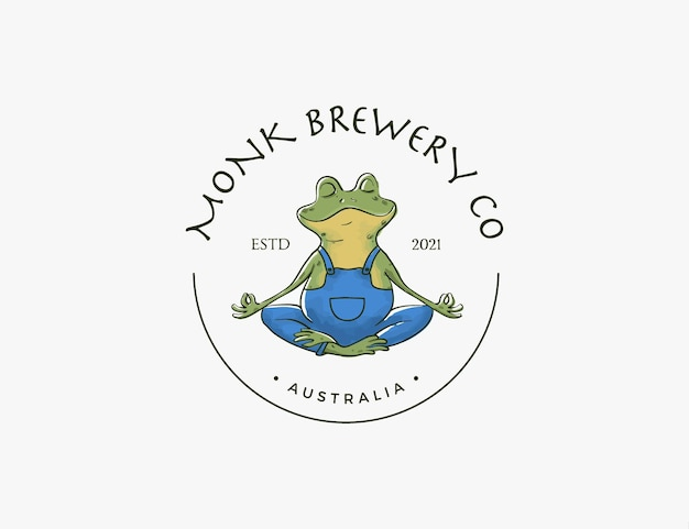Moine grenouille faisant du yoga pose le logo de l'entreprise de brassage