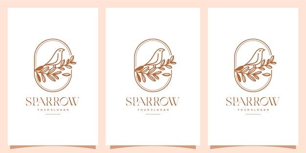 Moineau et feuille logo monoline