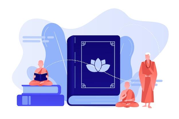 Des moines bouddhistes en robe orange méditant et lisant, des gens minuscules. bouddhisme zen, lieu de culte du bouddhisme, concept de livre sacré bouddhiste. illustration isolée de bleu corail rose