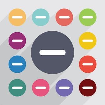 Moins, jeu d'icônes plat. boutons colorés ronds. vecteur