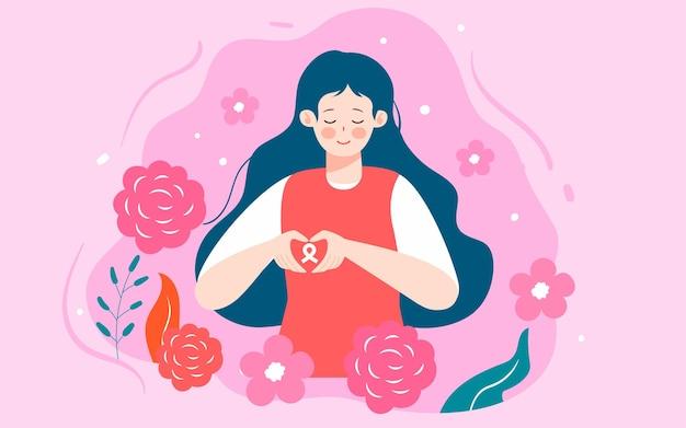 Mois du cancer du sein focus sur la santé des femmes affiche médicale illustrée du cancer du cancer