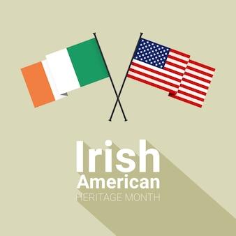 Mois du patrimoine irlandais-américain avec des drapeaux croisés irlandais et étoiles et rayures