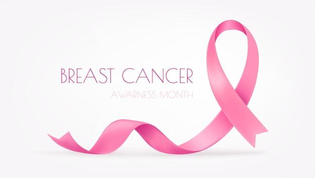 Mois mondial de la sensibilisation au cancer du sein. ruban de soie rose sur fond blanc