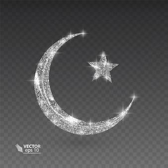 Mois Musulman Argent Avec Texture Scintillante Sur Fond Transparent, Illustration Vecteur Premium