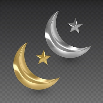 Mois musulmans argent et or sur fond transparent, illustration