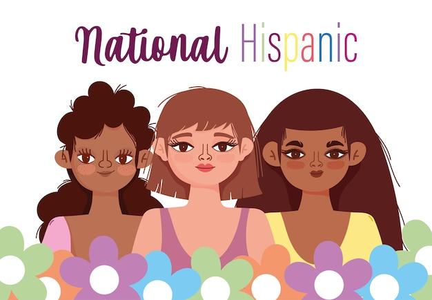 Mois national du patrimoine hispanique, groupe de femmes fleurs dessin animé portrait