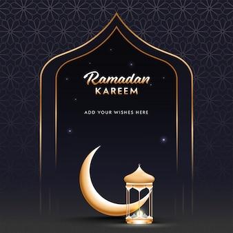 Mois sacré islamique du concept de ramadan kareem avec croissant de lune doré et latern lumineux sur fond à motifs arabes.