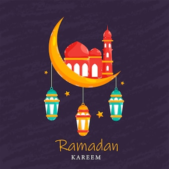 Mois sacré islamique du ramadan concept avec lanternes lumineuses suspendues, mosquée sur croissant de lune et étoiles sur fond violet.