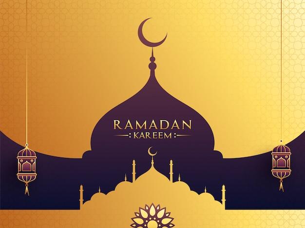 Mois sacré islamique du ramadan concept avec mosquée, lanternes suspendues sur fond doré et violet.